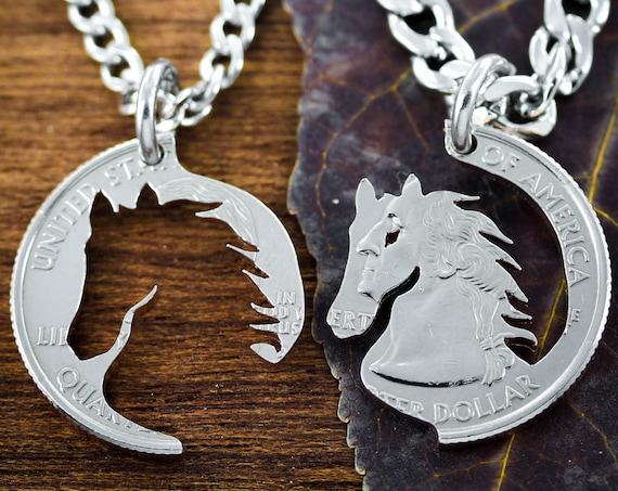 Best Friend Horse Necklaces, BFF Gift, Equestrian Jewelry, Hand Cut Coin