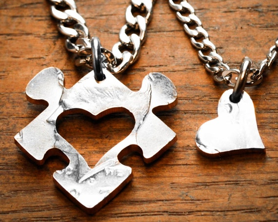 Heart Puzzle Couples Necklaces, Heart Cut from Puzzle Piece, Hand Cut Coin