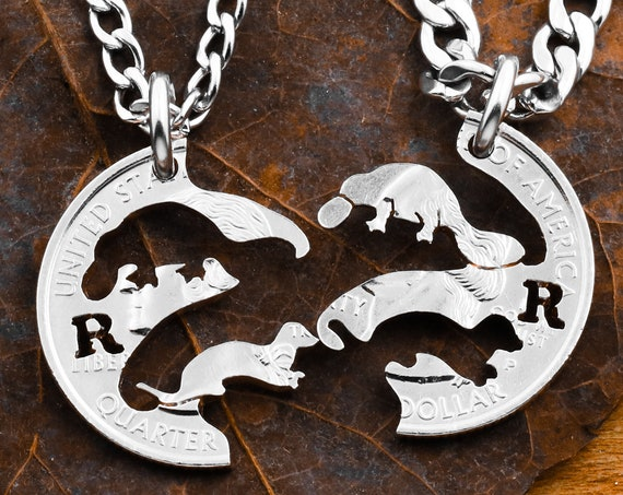 Platypus and Seal Best Friends Necklaces, Custom Cut Initials, Animal Friendship Jewelry, BFF Gifts, Personalized Hand Cut Coin