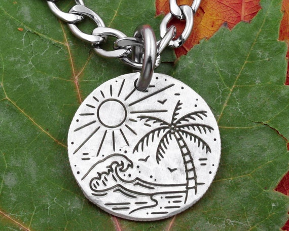 Beach Scene Necklace, Artistic Jewelry with Engraved Wave, Palm Tree and Sun with Birds, Vacation Gifts, Hammered Silver Coin