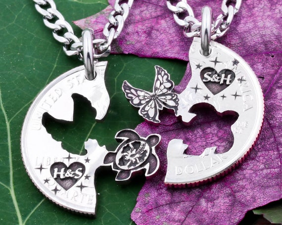Sea Turtle and Butterfly Necklaces, Custom Engraved Initials Inside Little Hearts, Best Friends and Couples Jewelry, Hand Cut Coin