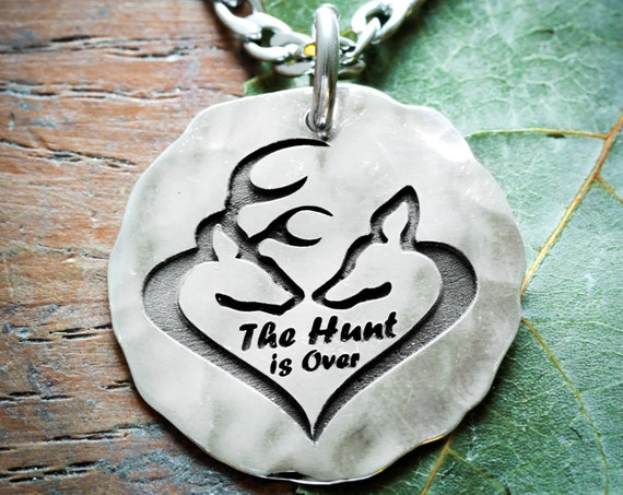 The Hunt is over Necklace, Silver Buck and Doe Heart Jewelry, Custom engraved and Hammered