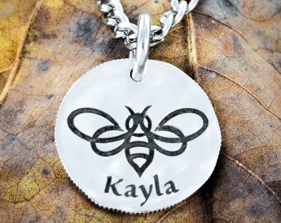 Silver Bumble Bee Name Necklace, Hammered and engraved silver dime