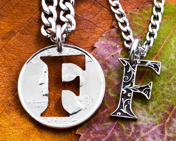 Inside Fancy Cut Out Letter Necklaces, Best Friends or Couples, Personalized Custom Jewelry, BFF Gifts, Hand and Engraved Cut Coin