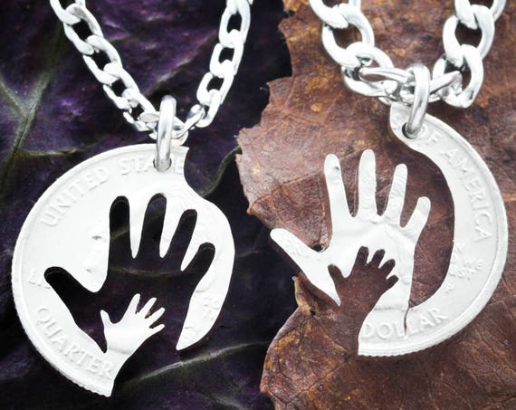 Hand in Hand Best Friend Necklaces, Father and Mother Couples Necklaces, BFF Gifts for 2, Baby Shower gift by Namecoins