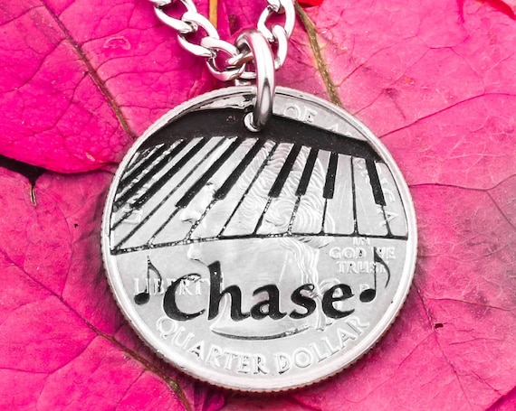 Engraved Piano and Music Notes with Personalized Name, Musician Necklace, Musical Instrument Jewelry, Keyboard Player, Hand Cut Coin