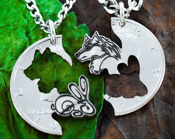 Wolf and Rabbit Couples Necklaces, Relationship Jewelry Set, BFF Gifts, Hand Cut Coin