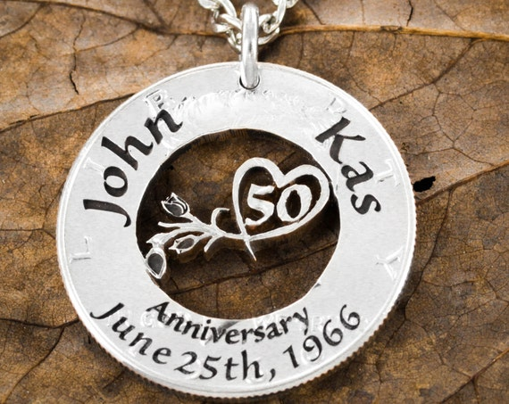50 Year Anniversary Necklace, 50th Custom Romantic Gift, Any year available, 5, 10, 15, 20, Hand cut Coin.