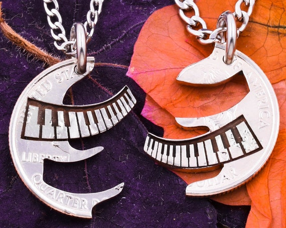 Interlocking Piano Necklaces, Engraved Musical Instrument, Couples or BFF Gifts, Musician Jewelry, Hand Cut Coin