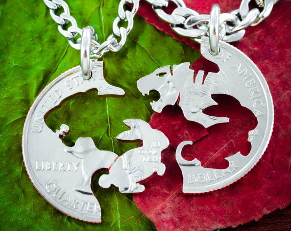 Tiger and Bunny Necklace Set, Couples Jewelry or Best Friends Gifts, Interlocking hand cut coin