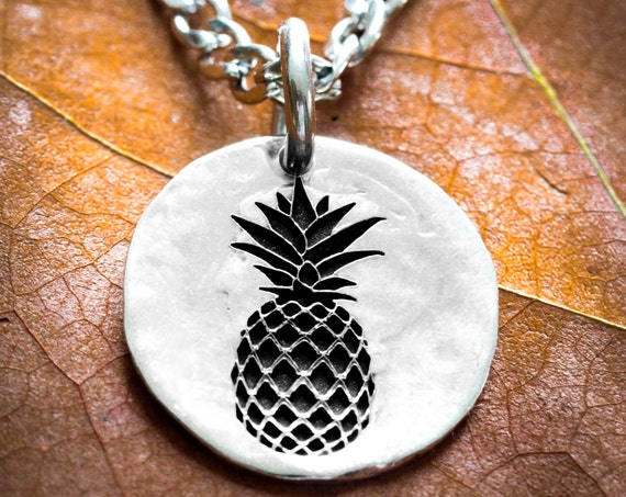 Silver Pineapple Necklace, Small Silver Necklace, Dainty Charm, Cute Charm, Hammered Silver Coin or Disk