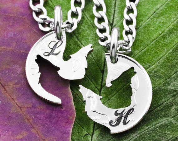 Howling Wolf Necklaces with Custom Cursive Initials, Best Friends Or Couples Gifts, Interlocking Hand Cut Coin