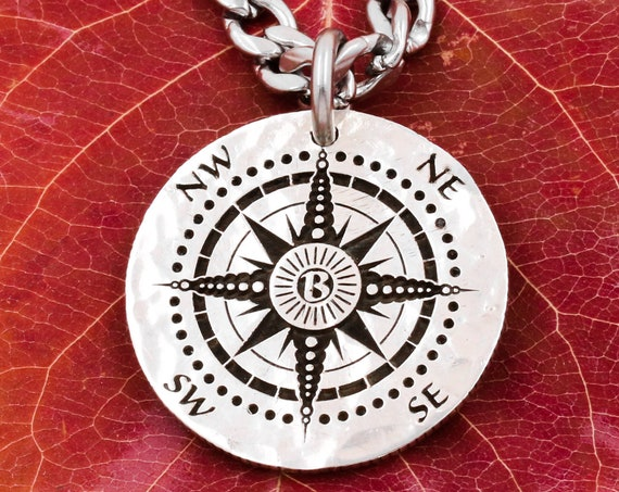"""Silver Compass Necklace with Custom Initial, Engraved into a Hammered Silver Coin, with """"For All Things"""" Engraved on the Back"""