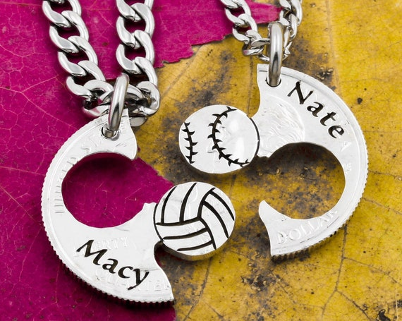 Engraved Baseball and Volleyball Couples and Best Friends Necklaces, Custom Engraved Names, Boyfriend and Girlfriend Jewelry, Sports Gift