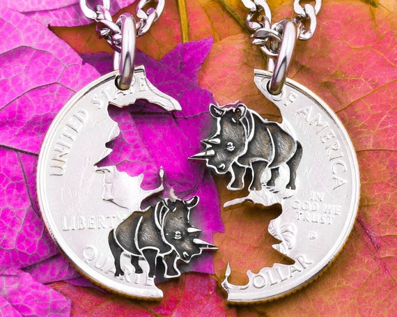 Rhinoceros Necklaces, BFF or Couples Gifts, Friendship Jewelry, Engraved Endangered Animal Jewelry, Horn Tusks, Safari, Hand Cut Coin