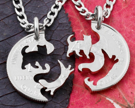 Cat and Otter Best Friends Necklaces, Ocean and Land Animal Gifts, Interlocking Pet Jewelry, Hand Cut Coin