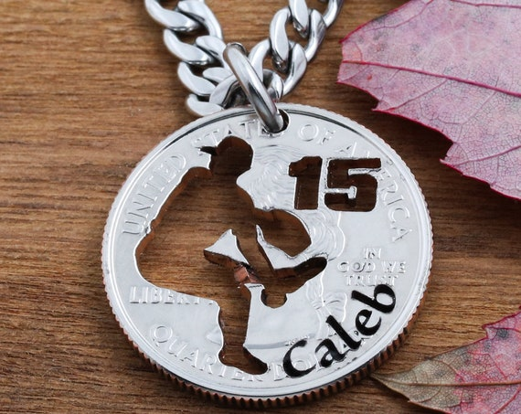 Personalized Baseball Pitcher Necklace, Engraved Name and Jersey Number, Baseball and Softball Necklace, hand cut coin Jewelry