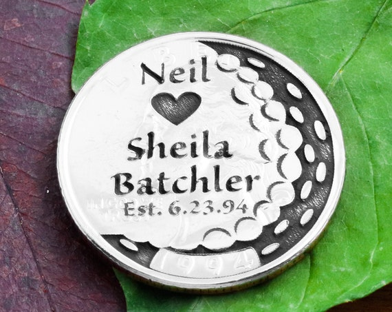 Anniversary Golf Ball Marker, Custom Names, Date and Heart Engraved, Golf Divot, Wedding Gift, Etched Quarter