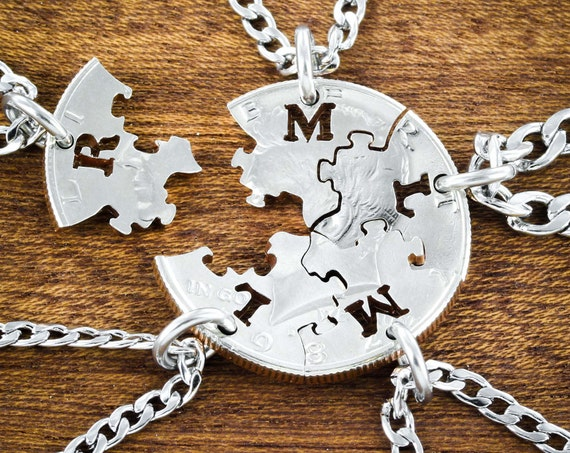 5 BFF Puzzle Piece Necklaces, Best Friends or Family Gifts, Custom Initials on Each, Hand Cut Coin