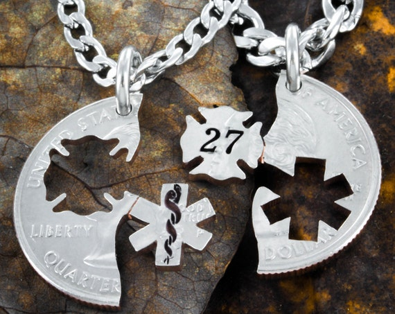 Firefighter and Emt Couples Necklaces, Custom Fireman's Number Included, Nurse and Fireman Cut Coin