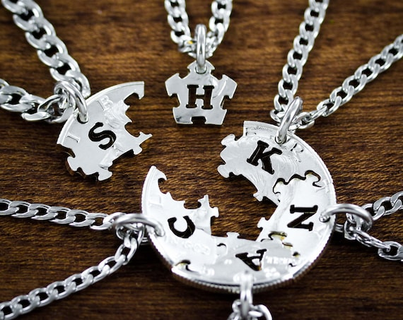 6 Necklaces, Puzzle Piece Family Or Best Friends Gift, with Custom Initials, Hand Cut Coin