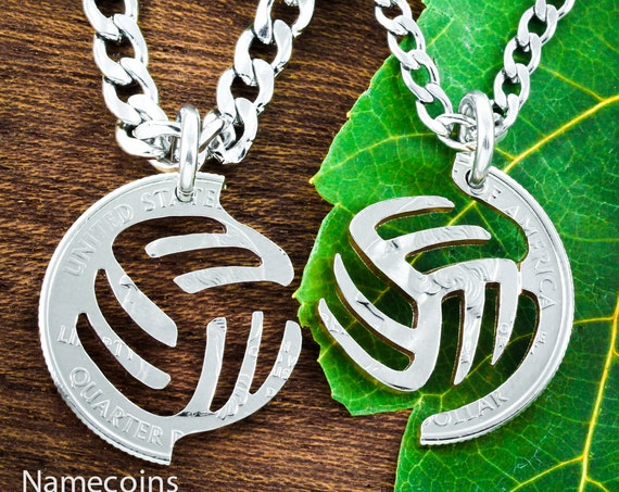 Volleyball Best Friend Necklaces, BFF Gifts, Hand Cut Coin