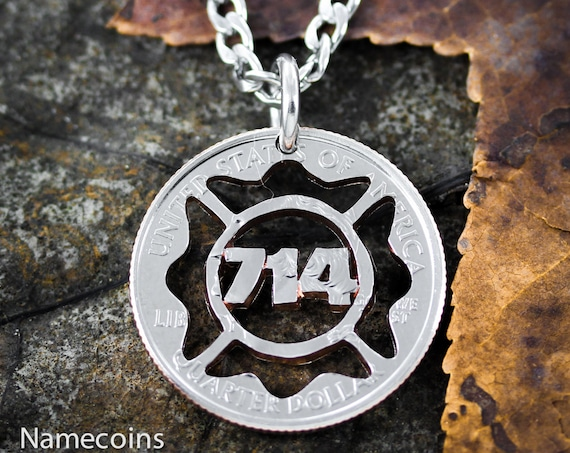 Firefighter Necklace with Your Number in a Fire Fighter Symbol, Custom Hand Cut Coin