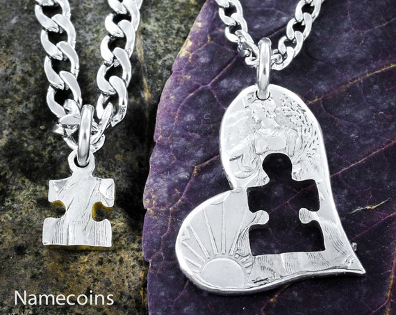 Autism Puzzle Piece in Heart Necklace Set, Inside and Outside Pieces, Hand Cut Coin
