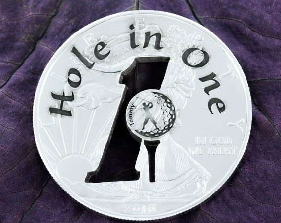 Silver Golf Ball Marker, Hole in One, Gifts for Golf Dad, Custom Coin, 1 oz Silver American Eagle, Cut and Engraved Silver Dollar