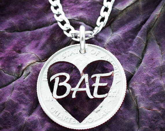 Bae Heart State Quarter Necklace, Long Distance Relationship Jewelry, Hand Cut Coin