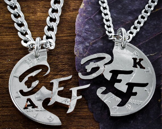 BFF Necklaces with Initials, Best Friends Forever Gifts