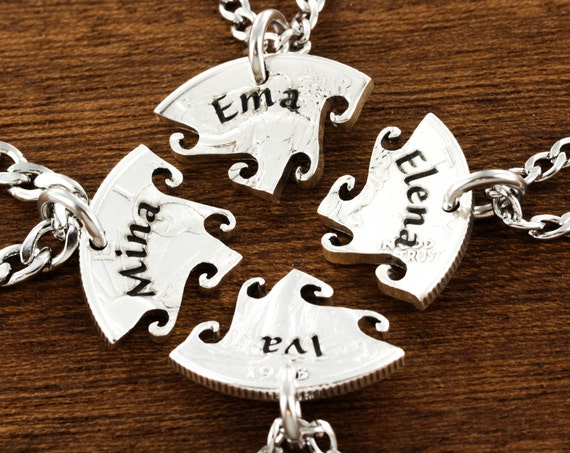 4 Best Friend Necklace, Custom Name Necklaces, 4 BFF Gift, Interlocking Puzzle Jewelry, Hand Cut Coin