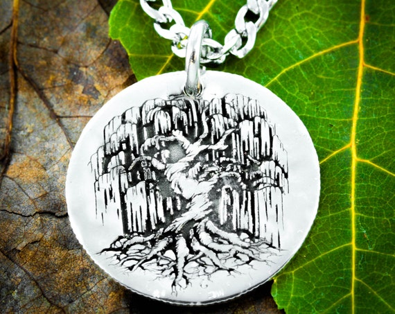 Silver Tree Necklace, Weeping Willow pendant, Hammered and Engraved Silver Disk or coin.
