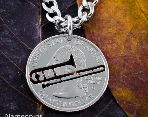 Trombone Necklaces, Handcrafted Coin, Musical Jewelry