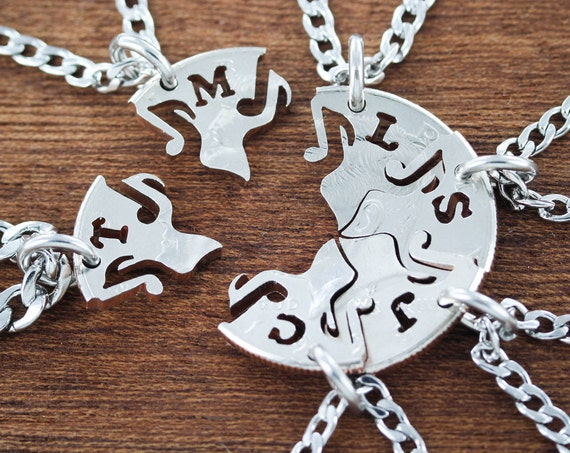 8 Best Friends Music Note Necklaces with custom initials, Puzzle Jewelry, BFF for 8, Hand Cut Coin