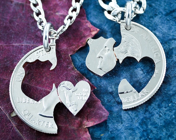 Police Shield and Heart Couples Necklaces, Hand Cut Coin