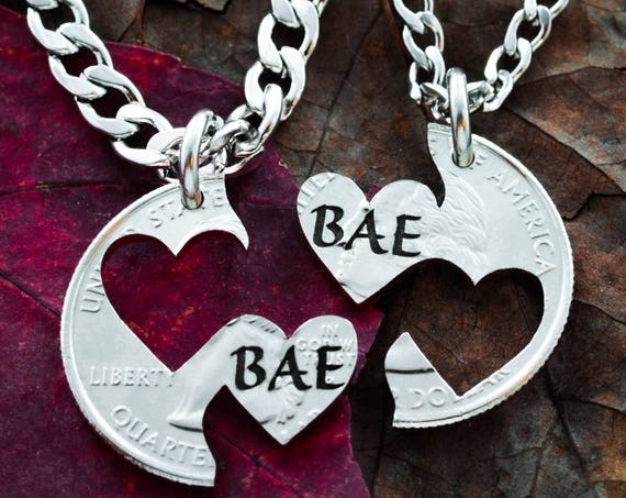Bae Heart Couples Necklaces, hand cut coin