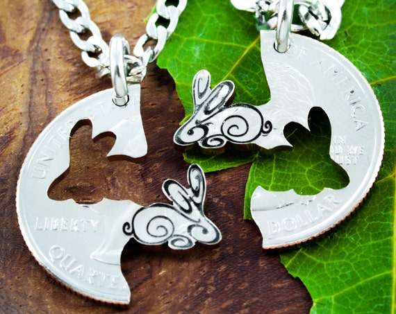 Bunny Rabbit Best Friend Necklaces for 2, BFF Gifts, Friendship Jewelry Set, Hand Cut Coin