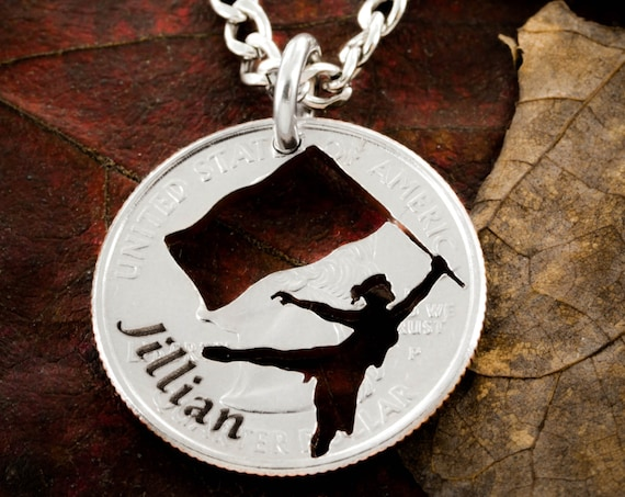 Custom Color Guard Name Necklace, Colorguard Gift, Hand Cut and Engraved Coin