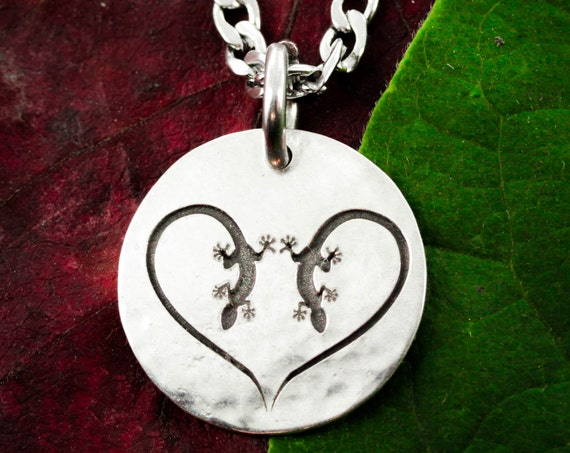 Lizard Heart Silver Necklace, Gecko Jewelry,