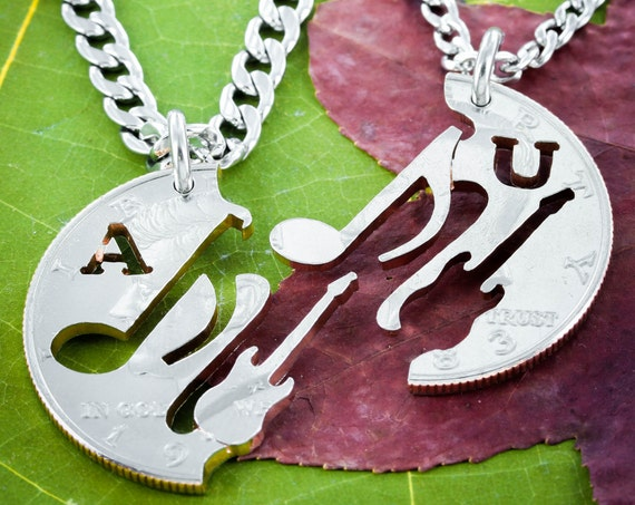 Guitar and Music Note Couples Necklaces with Custom initials cut, BFF Gifts, interlocking hand cut coin