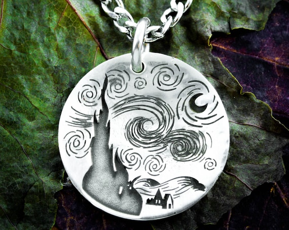Silver Starry Night Necklace, Van Gogh Jewelry,