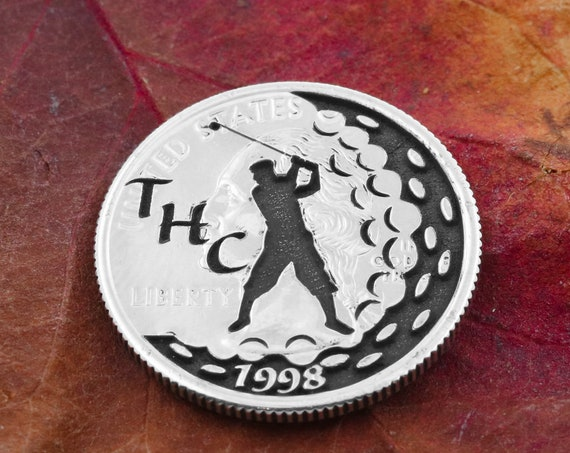 Front and Back Engraved Golf Ball Marker, Customizable Coin, Initials and Coordinates, Anniversary Golf Divot, Wedding Gift, Etched Quarter