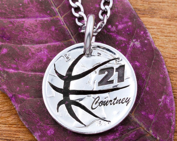 Basketball Necklace with Your Custom Jersey Number and Cursive Engraved Name, Hand Cut Coin