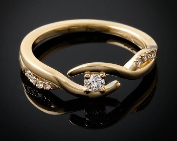 Elegant Eye, Bypass Ring, Rose, White or Yellow Gold Band