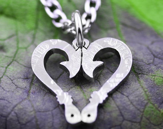 Fish Hook Heart Necklace, Love Fishing, Outdoor Jewelry, Hand Cut Coin