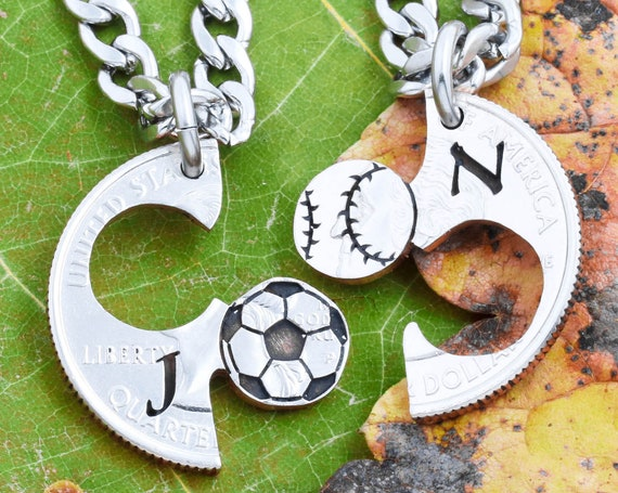 Soccer Ball and Baseball Necklaces with Custom Initials, Sports Jewelry for Best Friends, Couples and BFF's Engraved Hand Cut Coin