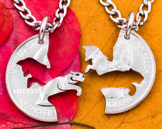 Fox and Panther Best Friends Necklaces, Best Friends Forever, Interlocking Animal Jewelry, Couples or BFF Gifts, Hand Cut Coin
