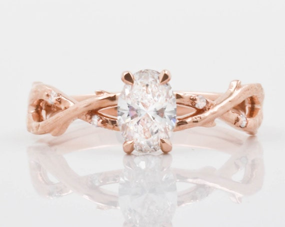 Rose Gold Vine Engagement Ring, Wedding, Anniversary and Marriage Gift, Diamond, Moissanite, or Cubic Zirconium OptionsRose Gold Vine
