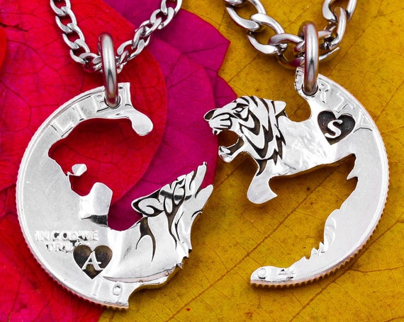 Howling Wolf and Growling Tiger Couples Necklaces, Custom Engraved Initials Inside Tiny Hearts, BFF Jewelry, Hand Cut Coin